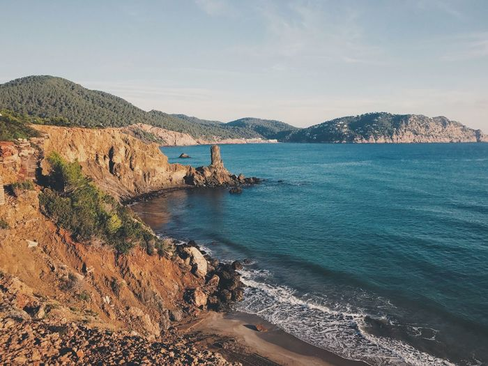 Water Sea Beauty In Nature Mountain Scenics Nature Sky Coastline Outdoors Mountain Range Tranquility Tranquil Scene Day No People Bay Reservoir Seashore Scenic Lookout Mediterranean Sea Seascape Seaside Ibiza Morning Light Clear Water Vacations The Great Outdoors - 2017 EyeEm Awards