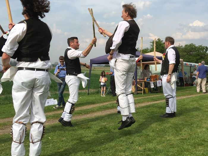 The Following Morris Dancers jumping to it English folk dancing