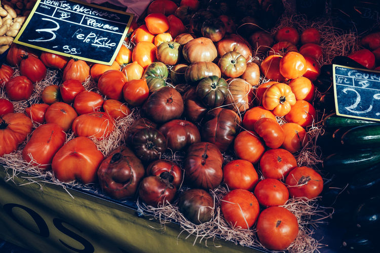 Close-Up Of Tomatoes At Market Stall
