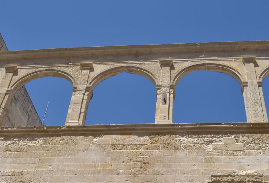 Arch Architectural Column Architectural Feature Architecture Barocco Architecture Blue Building Built Structure Clear Sky Column Day Exterior High Section Historic History Landmark Lecce - Italia Low Angle View No People Outdoors Sky The Past Vista Dal Basso