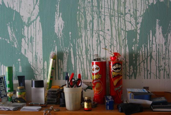 2007 Alperson Art ArtWork Brushes Color Creating Creativity Jars  Lalalama Paint Spattered Strokes Work Environment