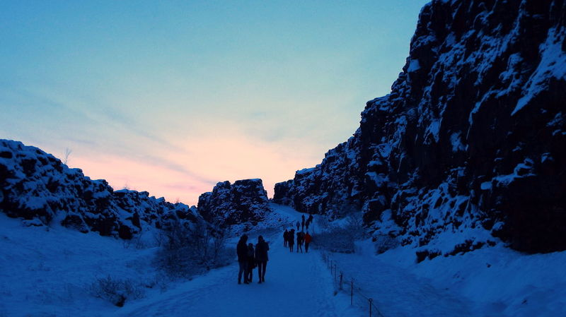 Beauty In Nature Cold Temperature Day Golden Circle Iceland Landscape Nature Outdoors People Pingvellir Scenics Sky Snow Sunset Thingvellir Winter