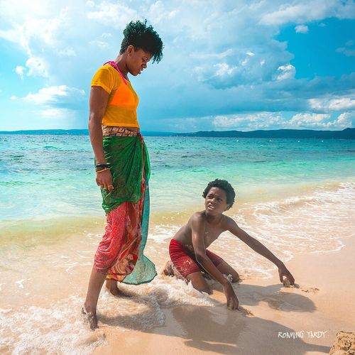 Mother watching child Beach SeaTwo People Cloud - Sky Water Horizon Over Water Summer Enjoyment Outdoors Togetherness Tropical Climate Vacations Sand Jamica Jamaican Girl  Jamaica 🇯🇲🇯🇲🇯🇲🇯🇲