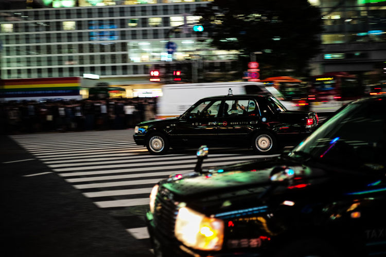 Blurred Motion Car City Street Crossing On The Move Photography In Motion Taxi Traffic Transportation Tokyo Diary