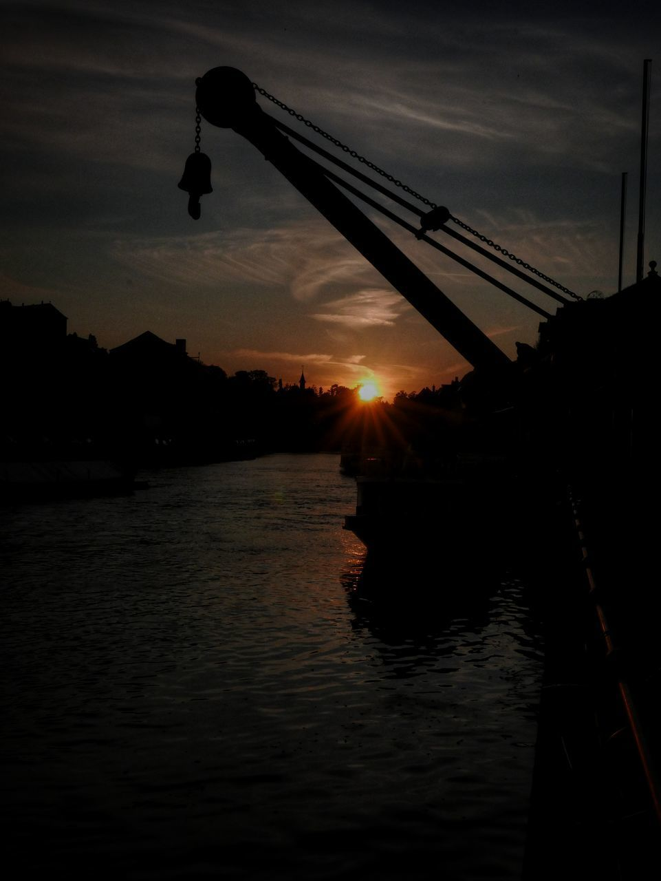 sunset, water, sky, silhouette, nature, sun, cloud - sky, transportation, nautical vessel, orange color, waterfront, river, scenics - nature, beauty in nature, reflection, outdoors, sunlight, no people, sailboat