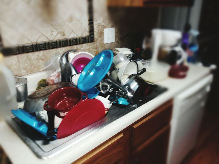 Dirty Dishes Cleaning Time Kitchen Sink Full Kitchen Sink Dirty Kitchen Kitchen Life Domestic Life Vignette Selective Focus