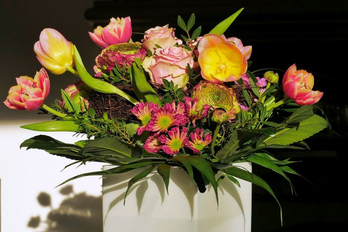 Bouquet of Flowers Birthday Flowers Flower Fragility Freshness Beauty In Nature Flower Head Close-up No People Tulip Blooming Flower Arrangement Decoration Inside Shadow Shadows & Lights Spring Flowers Springtime