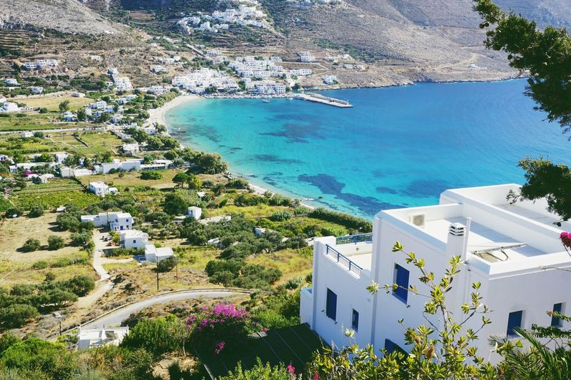 Aegiali House High Angle View Architecture Water Built Structure Mountain Residential Building Nature Sea Beauty In Nature Day Tree Scenics Outdoors Whitewashed Town No People Aerial View Landscape Amorgos Greece Greek Islands Aegiali Bay Summer