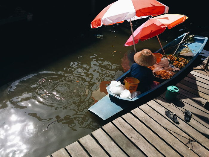 High angle view of woman in boat