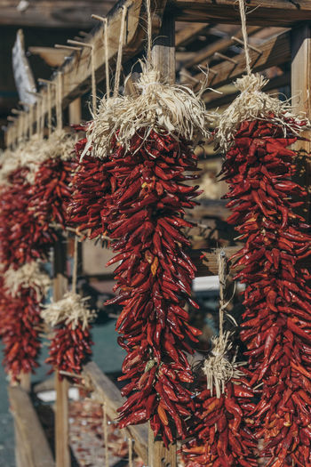 Abundance Chilli Close-up Day Drying Focus On Foreground Food Food And Drink Freshness Hanging Large Group Of Objects Market No People Outdoors Peppers Red Retail