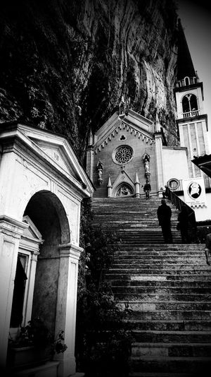 Low angle view of steps outside santuario madonna della corona