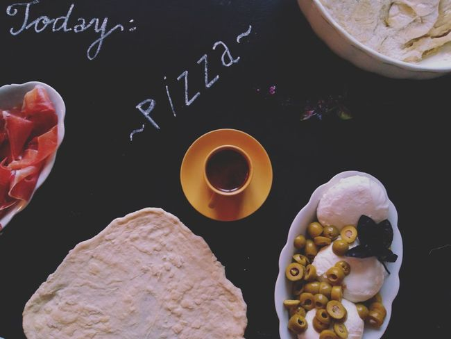 Black Background No People Pizza Dough Pizza Time Freshness Preparing Food Ingredients Food And Drink Coffee Cup Of Coffee Healthy Eating Mozzarella Basil Olives