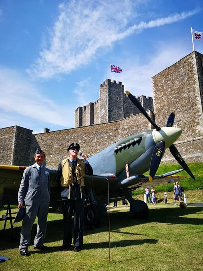 Legendary pilot of WWII Ww2 WWII Ww2 Plane WWII Planes World War 2 Pilot Spitfire Dover, England Dover Castle English Heritage Full Length Men Sky Architecture Historic