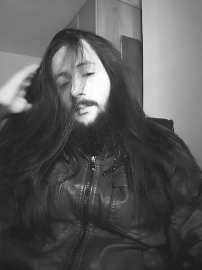 . Blackandwhite Sadness Long Hair Bearded Young Adult