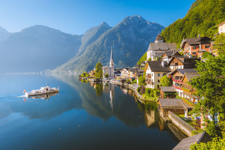 Panoramic view of buildings in lake