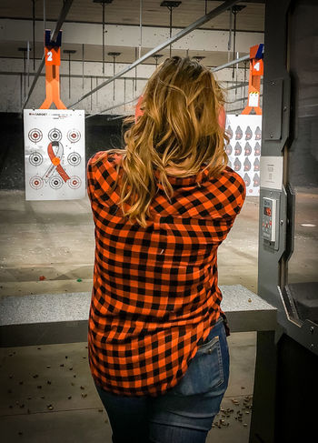 Plaid Shirt  Power Rocking Out Awesome Hair Day  Backsideview Beautiful Woman Indoors  Range