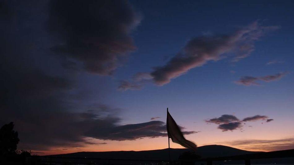 Montenegro Tivat Hostel Teras Flag Sundown Balkans Freedom
