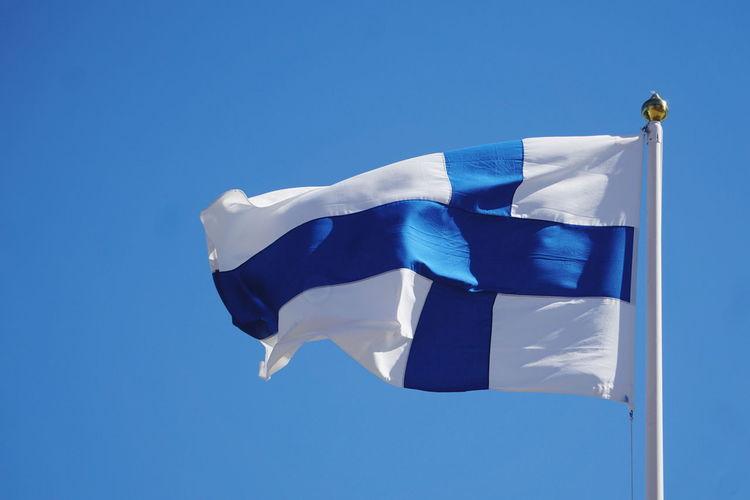 flag of Finland Finland Finlandia Flag Flags Blue Cross Blue Cross Flag Blue Flag Patriotism Sky Close-up