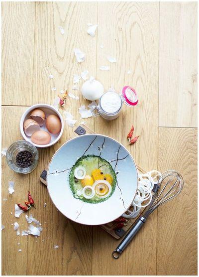 Preparing breakfast on wooden table