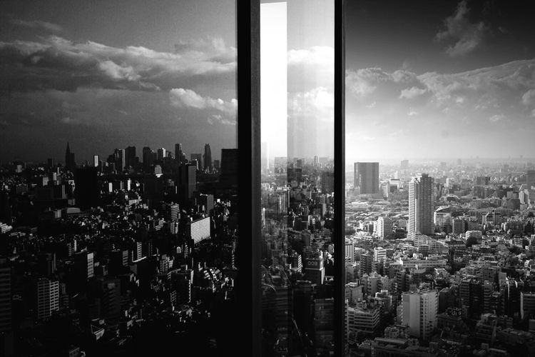 Tokyo in the Glass. Blackandwhite Monochrome Light And Shadow Cityscapes Tokyo Pmg_tok