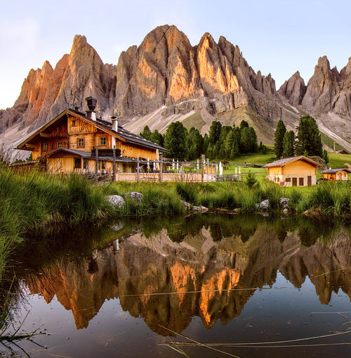 Sunrise's perfection 🌄 Mountain Mountain Range Rock - Object Outdoors Scenics Travel Destinations Landscape No People Water Nature Beauty In Nature Reflections Sunrise Colors Of Nature Dolomites, Italy Trentino Alto Adige Val Di Funes Rifugio Delle Odle