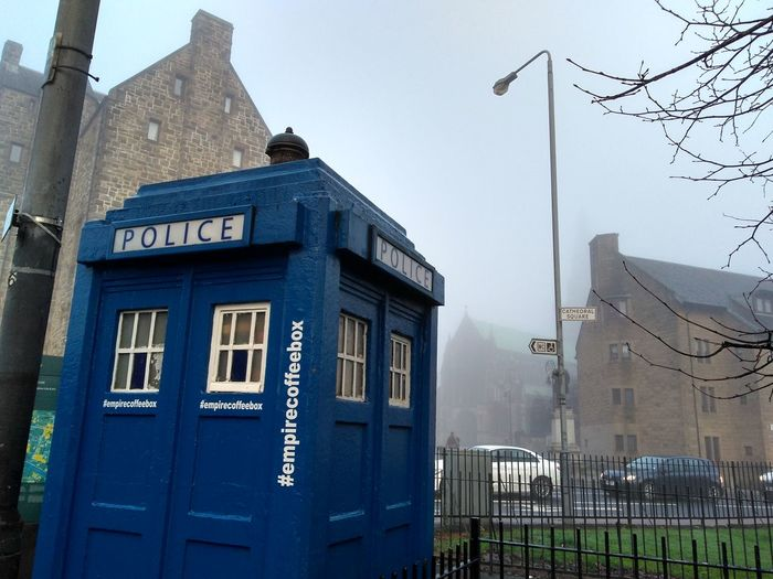 a blue police booth on a foggy day Landscape Urban Town Street Police Booth Foggy Day Tardis Dr Who Series Tv