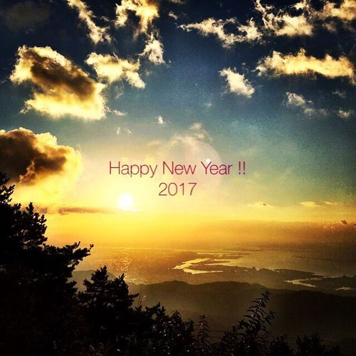 Happy New Year !!! Happy New Year Beauty In Nature Sunshine Sunrise Mountain 2017 Light And Shadow Sky And Clouds Greetings