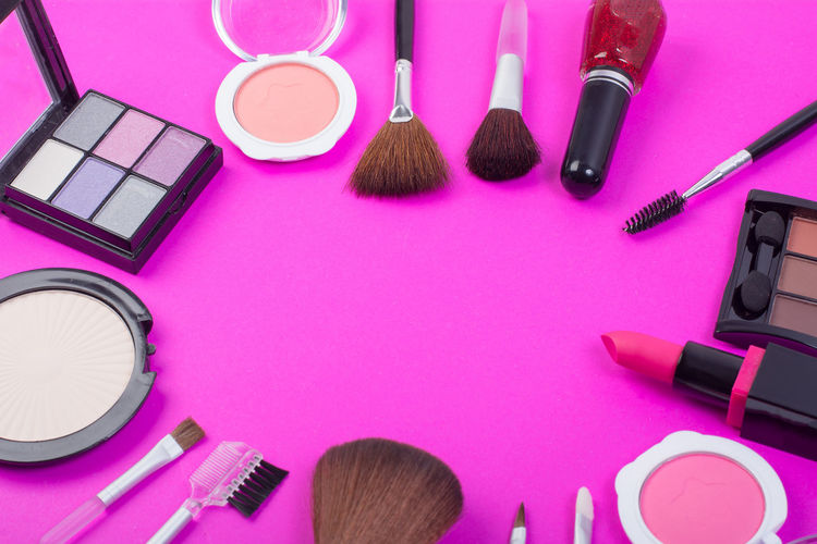 Beauty Beauty Product Blush - Make-up Body Care Body Care And Beauty Choice Eyeshadow Face Powder Females High Angle View Indoors  Large Group Of Objects Lipstick Make-up Make-up Brush Man Made Multi Colored Personal Accessory Pink Color Purple Still Life Variation