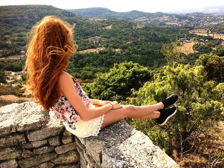 EyeEm Selects Mountain One Person Long Hair Nature Outdoors Sitting Day Young Adult Beautiful Woman One Woman Only Only Women Young Women Plant Women Beauty In Nature Adult One Young Woman Only Tree Panoramic View