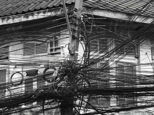 Cable Low Angle View Connection Architecture Built Structure Power Supply Bangkok Technology Building Exterior Electricity  Wires In The Sky Telephone Line Outdoors Cable Salad Day No People