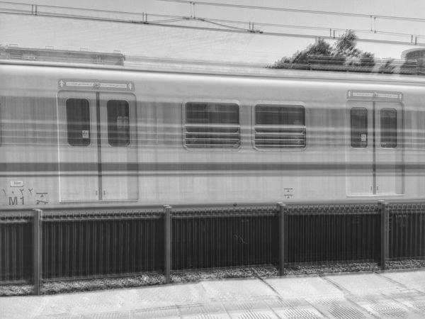 First Eyeem Photo Transportation Mode Of Transport Train - Vehicle Public Transportation Travel Rail Transportation Railroad Station Passenger Train Railroad Station Platform Stationary Subway Train Day Outdoors No People Mobilephotography IPhoneography Low Shutter Speed Welcome To Black Resist Cut And Paste Let's Go. Together.