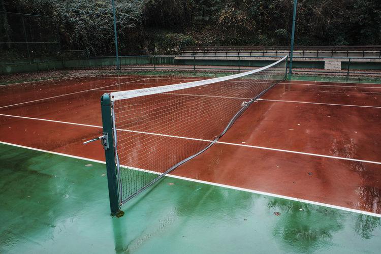 High angle view of tennis court during rainy season