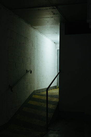 Bright Parking Dark Architecture Wall No People Night Entrance Illuminated Steps And Staircases Indoors  EyeEm Gallery Streetphotography Light And Shadow