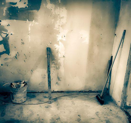 Remont Home Work Poziomica Bez życia ściana Balagan Wiadro Szczotka Budowa Remont