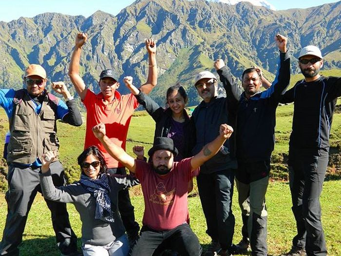 We... The Himalayan Drifters, after conquering the Roopkund and Jyurangali Pass. Picture taken at Bedni Bugyal. HimalayanDrifters Roopkund Trekking