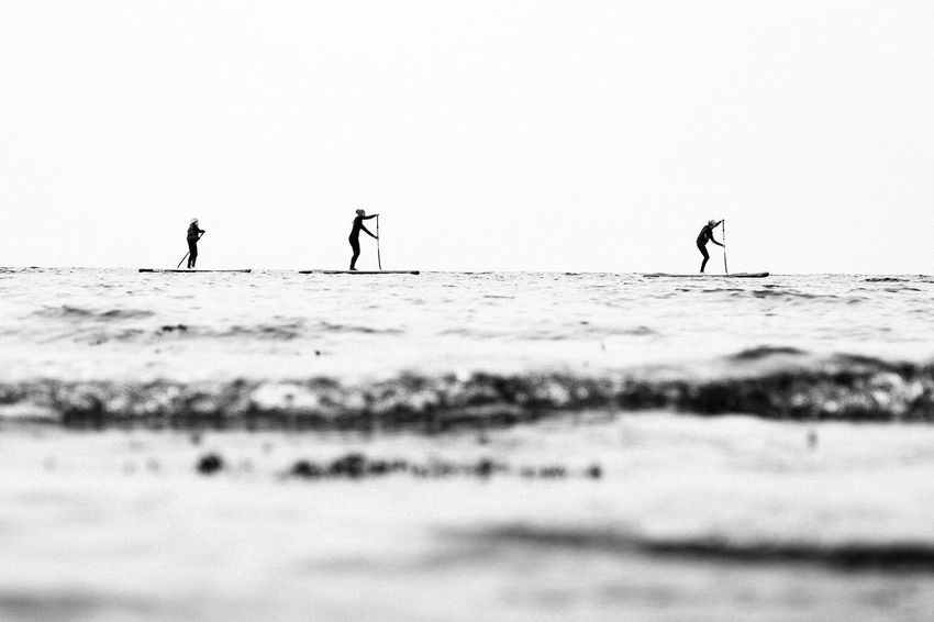Adventure Beauty In Nature Black And White Horizon Over Water Lifestyles Outdoors Sea Silhouette Stand Up Paddling Summer Surf Water Waterfront