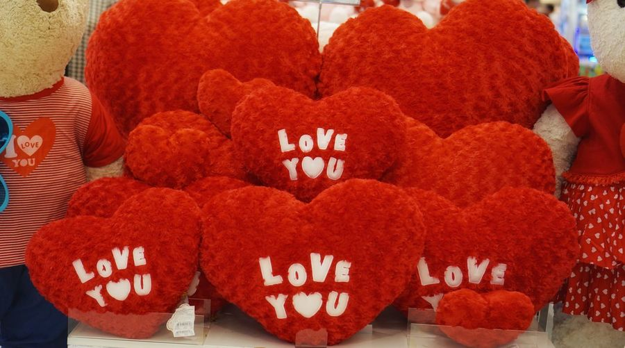 """Red heart pillow """" I love you """" Chinese New Year Indoors  Traditional Festival Celebration Day Close-up Heart Shape No People Red Love"""