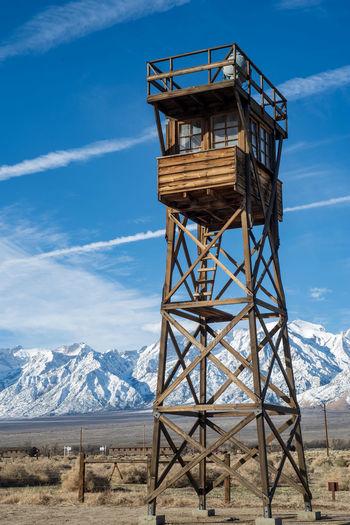 Wooden watchtower at manzanar prison camp