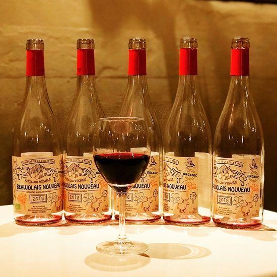 BeaujolaisNouveauDay Beaujolais Nouveau Beaujolaisnouveau Refreshment Drink Alcohol Food And Drink Bottle Wine Glass Indoors  Wineglass No People Table Wine Bottle