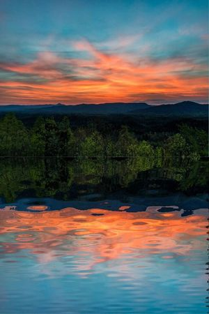 Sunset Reflection Dramatic Sky Cloud - Sky Orange Color Sky Beauty In Nature Water Nature No People Tranquility Outdoors Tranquil Scene Scenics Lake Landscape Mountain Tree Day