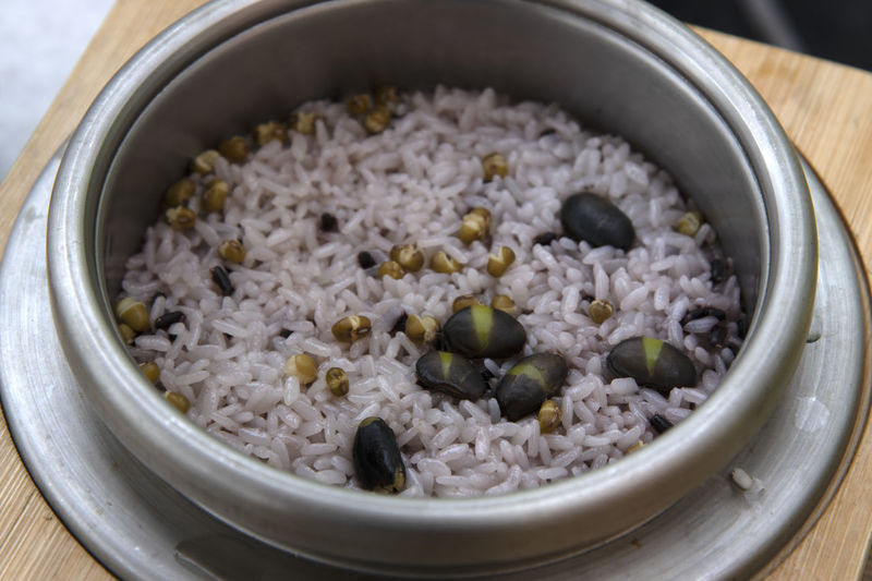 sotbap (Korean steamed rice) Rice Asian Food Bowl Breakfast Chinese Food Close-up Container Directly Above Focus On Foreground Food Food And Drink Freshness Healthy Eating High Angle View Indoors  Korean Food Meal No People Ready-to-eat Rice - Food Staple Rice Food Snack Still Life Table Wellbeing