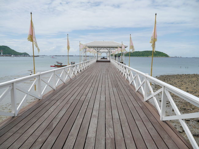 Water The Way Forward Sea Pier Built Structure Sky Railing Wood - Material Architecture Narrow Cloud - Sky Walkway Wood Paneling Leading Day Calm Nature Tranquility Outdoors Long SICHANGISLAND Vacations Enjoyment Leisure Activity Thailand