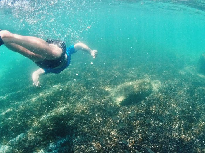 Swimming Underwater Water Sea One Person UnderSea Sport Leisure Activity Snorkeling Turquoise Colored