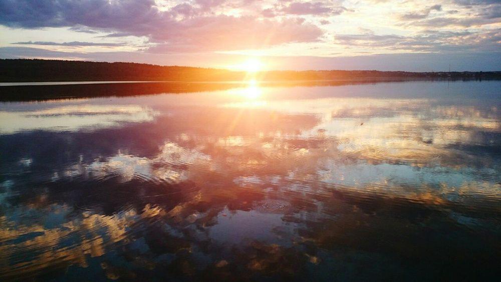 лето лето Reflection Water Nature Sunset Lake Scenics Beauty In Nature