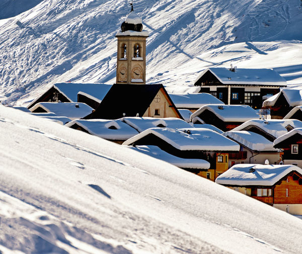 Livigno, Italy Architecture Building Exterior Built Structure Cold Temperature Day Mountain Nature No People Outdoors Place Of Worship Religion Sky Snow Spirituality Sunlight Weather Winter