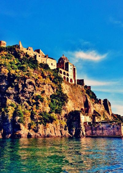 History Architecture Outdoors No People Business Finance And Industry Landscape Water Cityscape Medieval Sky Day Travel Destinations Buildings Castle Walls Aragon Castle Ischia Postcard Travel Sea