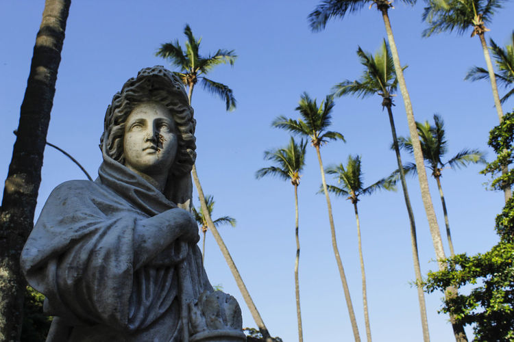 Low Angle View Of Statue By Coconut Palm Trees Against Clear Blue Sky