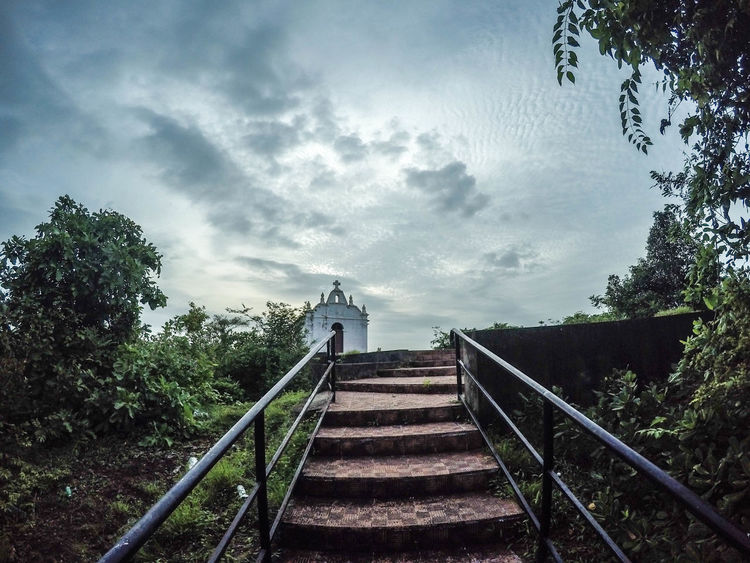 Staircase Steps And Staircases Steps Railing Cloud - Sky Tree Outdoors Sky Day No People Hand Rail Nature Chapel Church Architecture EyeEmNewHere