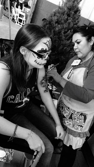 Facepaint Two People Togetherness Real People People Art Creativity Face Tattoo Temporary Tattoo Christmas Party Family Happy