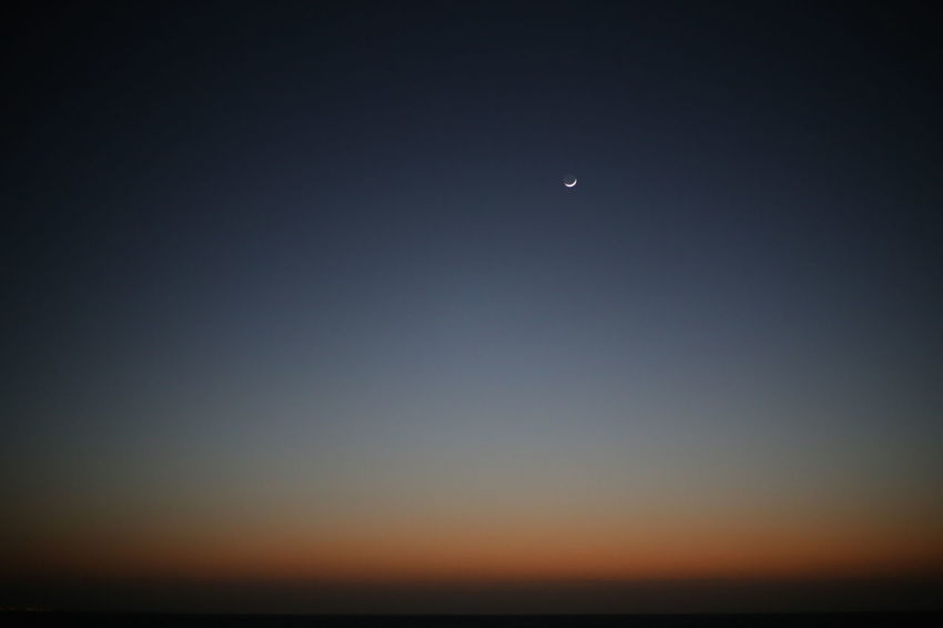Dusk. Beauty In Nature Clear Sky Crescent Dark Dusk Evening Moon Night Outdoors Sky Space Tranquility